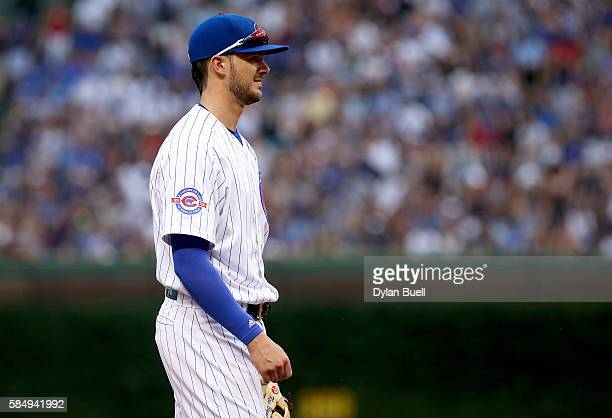 Kris Bryant of the Chicago Cubs plays third base in the fourth inning against the Seattle Mariners at Wrigley Field on July 29 2016 in Chicago...