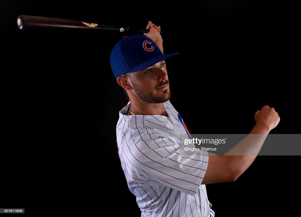 Kris Bryant #17 of the Chicago Cubs poses during Chicago Cubs Photo Day on February 20, 2018 in Mesa, Arizona.
