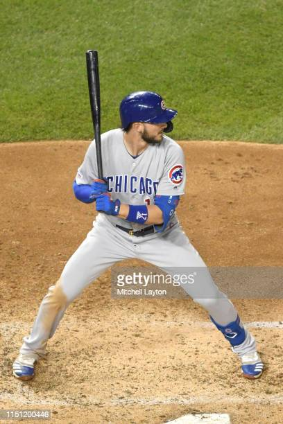 Kris Bryant of the Chicago Cubs prepares for a pitch during a baseball game against the Washington Nationals at Nationals Park on May 17, 2019 in...