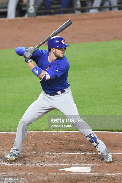 Kris Bryant of the Chicago Cubs prepares for a pitch during a baseball game against the Baltimore Orioles at Oriole Park at Camdens Yards on July 14...