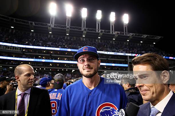 Kris Bryant of the Chicago Cubs reacts after defeating the Cleveland Indians 87 in Game Seven of the 2016 World Series at Progressive Field on...