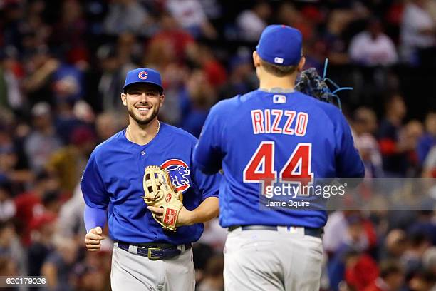 Kris Bryant of the Chicago Cubs reacts with Anthony Rizzo after defeating the Cleveland Indians 93 to win Game Six of the 2016 World Series at...