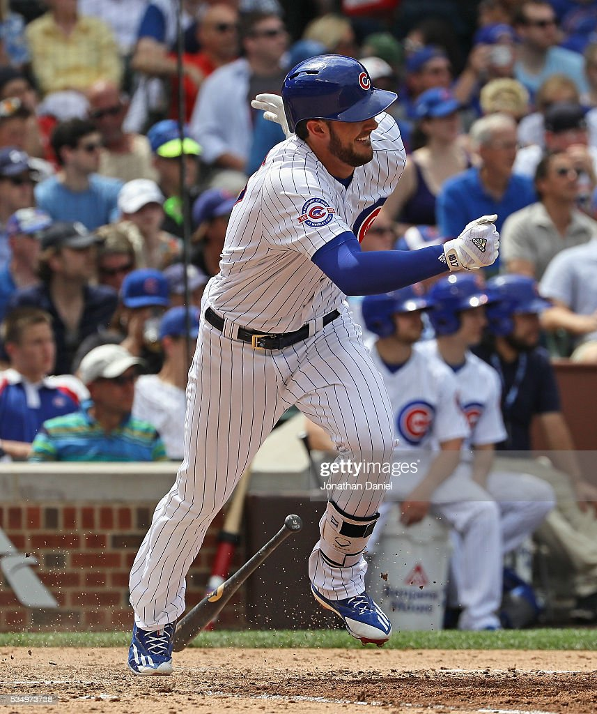 Kris Bryant #17 of the Chicago Cubs runs after hitting a single in the 6th inning against the Philadelphia Phillies at Wrigley Field on May 28, 2016 in Chicago, Illinois. The Cubs defeated the Phillies 4-1.