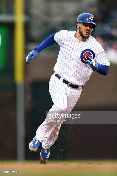 Kris Bryant of the Chicago Cubs runs the bases during a game against the Chicago White Sox at Wrigley Field on May 11, 2018 in Chicago, Illinois. The...
