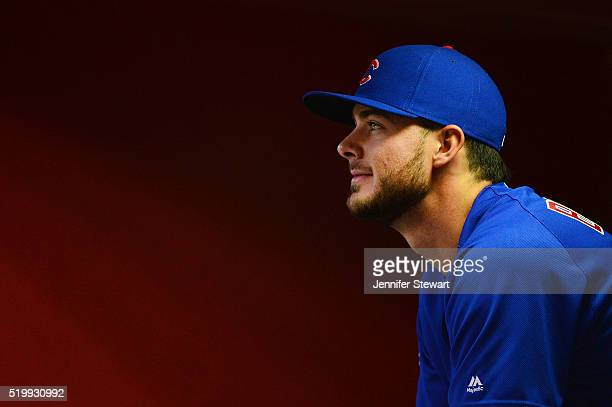 Kris Bryant of the Chicago Cubs sits in the dugout prior to the game against the Arizona Diamondbacks at Chase Field on April 8 2016 in Phoenix...