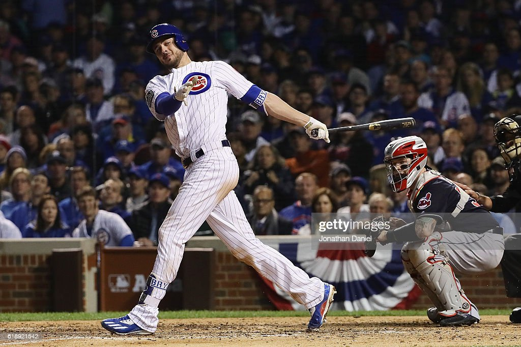 Kris Bryant #17 of the Chicago Cubs strikes out in the sixth inning against the Cleveland Indians in Game Three of the 2016 World Series at Wrigley Field on October 28, 2016 in Chicago, Illinois.