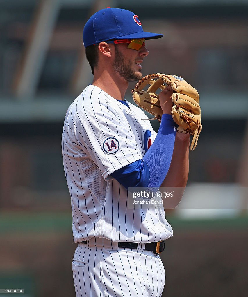 Kris Bryant #17 of the Chicago Cubs waits for a pitch against the San Diego Padres at Wrigley Field on April 17, 2015 in Chicago, Illinois. The Padres defeated the Cubs 5-4.