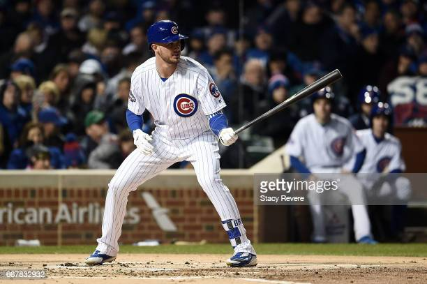 Kris Bryant of the Chicago Cubs waits for a pitch during the first inning of a game against the Los Angeles Dodgers at Wrigley Field on April 12 2017...