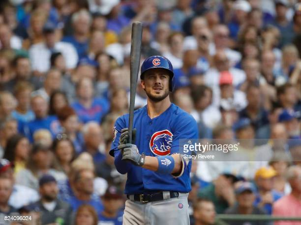 Kris Bryant of the Chicago Cubs waits for a pitch during the third inning of a game against the Milwaukee Brewers at Miller Park on July 28 2017 in...