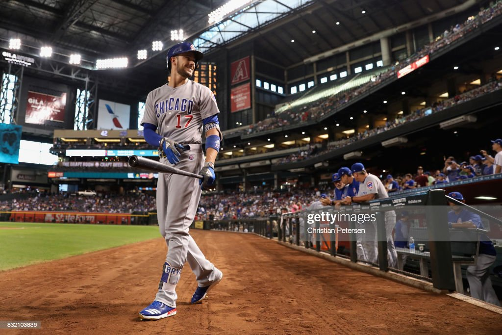 Kris Bryant #17 of the Chicago Cubs walks from the dugout during the MLB game against the Arizona Diamondbacks at Chase Field on August 11, 2017 in Phoenix, Arizona.