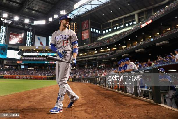 Kris Bryant of the Chicago Cubs walks from the dugout during the MLB game against the Arizona Diamondbacks at Chase Field on August 11 2017 in...