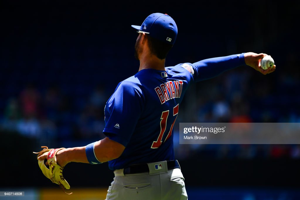 Kris Bryant #17 of the Chicago Cubs warms before the game against the Miami Marlins at Marlins Park on April 1, 2018 in Miami, Florida.