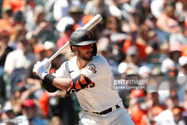 Kris Bryant of the San Francisco Giants at bat in the bottom of the seventh inning against the Houston Astros at Oracle Park on August 01, 2021 in...