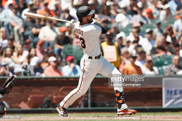 Kris Bryant of the San Francisco Giants hits a solo home run in the bottom of the third inning against the Houston Astros at Oracle Park on August...