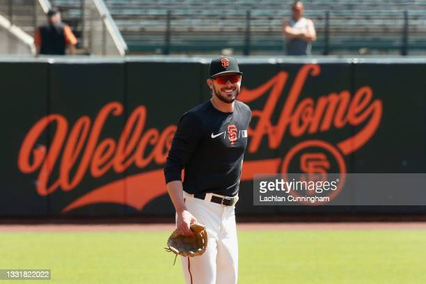 Kris Bryant of the San Francisco Giants takes fielding practice before the game against the Houston Astros at Oracle Park on August 01, 2021 in San...