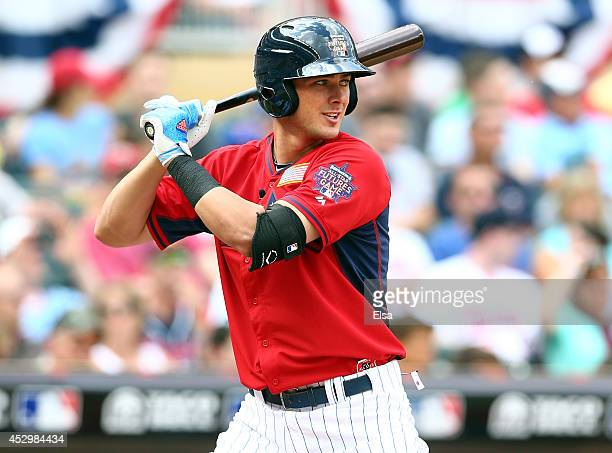 Kris Bryant of the U.S. Team plays against the World Team in the SiriusXM All-Star Futures Game at Target Field on July 13, 2014 in Minneapolis,...