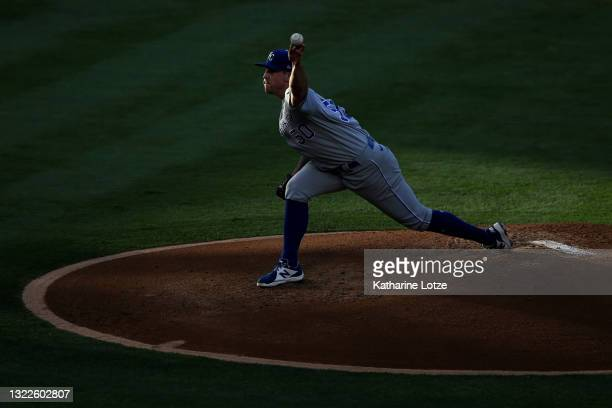Kris Bubic of the Kansas City Royals throws a pitch in the second inning against the Los Angeles Angels at Angel Stadium of Anaheim on June 08, 2021...