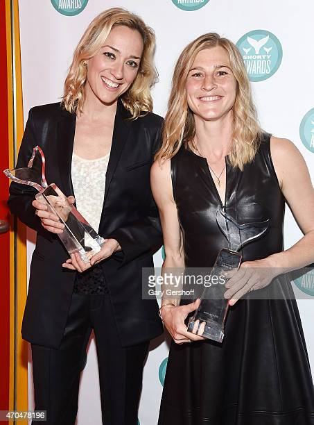 Kris Carr and Lauren Fleshman pose with Shorty Awards during the 7th Annual Shorty Awards on April 20 2015 in New York City