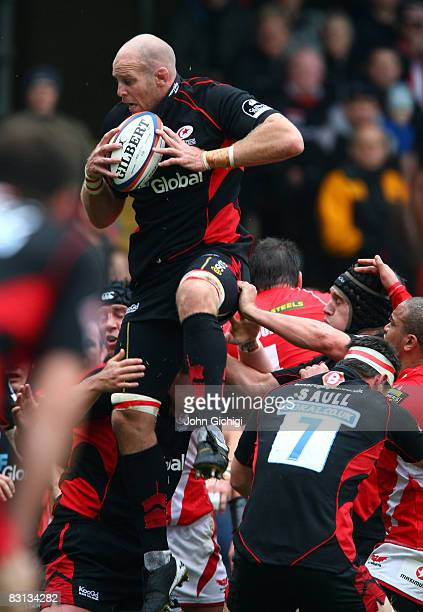 Kris Chesney of Saracens helps to win the lineout during the EDF Energy Cup between Saracens and Llanelli Scarlets on October 5 2008 at Vicarage Road...