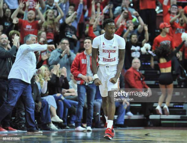 Kris Clyburn of the UNLV Rebels celebrates after scoring against the Arizona Wildcats during their game at the Thomas Mack Center on December 2 2017...