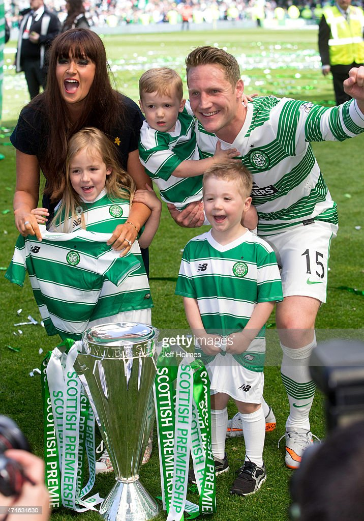 Kris Commons of Celtic celebrates with his family at the Scottish Premiership Match between Celtic and Inverness Caley Thistle at Celtic Park on May 24, 2015 in Glasgow, Scotland.
