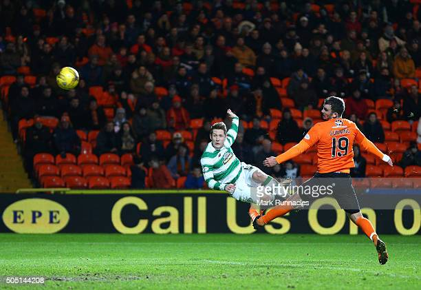 Kris Commons of Celtic scores a spectacular volleyed goal from distance in the second half during the Ladbrokes Scottish Premiership match between...