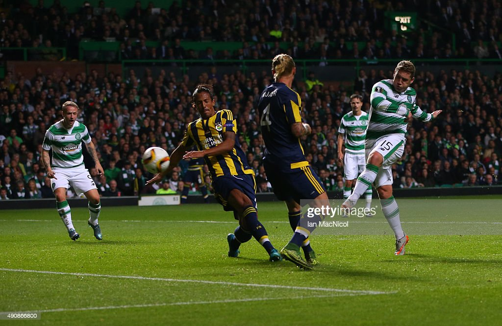 Kris Commons of Celtic scores during the UEFA Europa League match between Celtic FC and Fenerbahce SK at Celtic Park on October 01, 2015 in Glasgow, Scotland.
