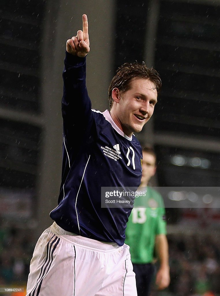 Kris Commons of Scotland celebrates after scoring their third goal during the Carling Nations Cup match between Northern Ireland and Scotland at the Aviva Stadium on February 9, 2011 in Dublin, Ireland.