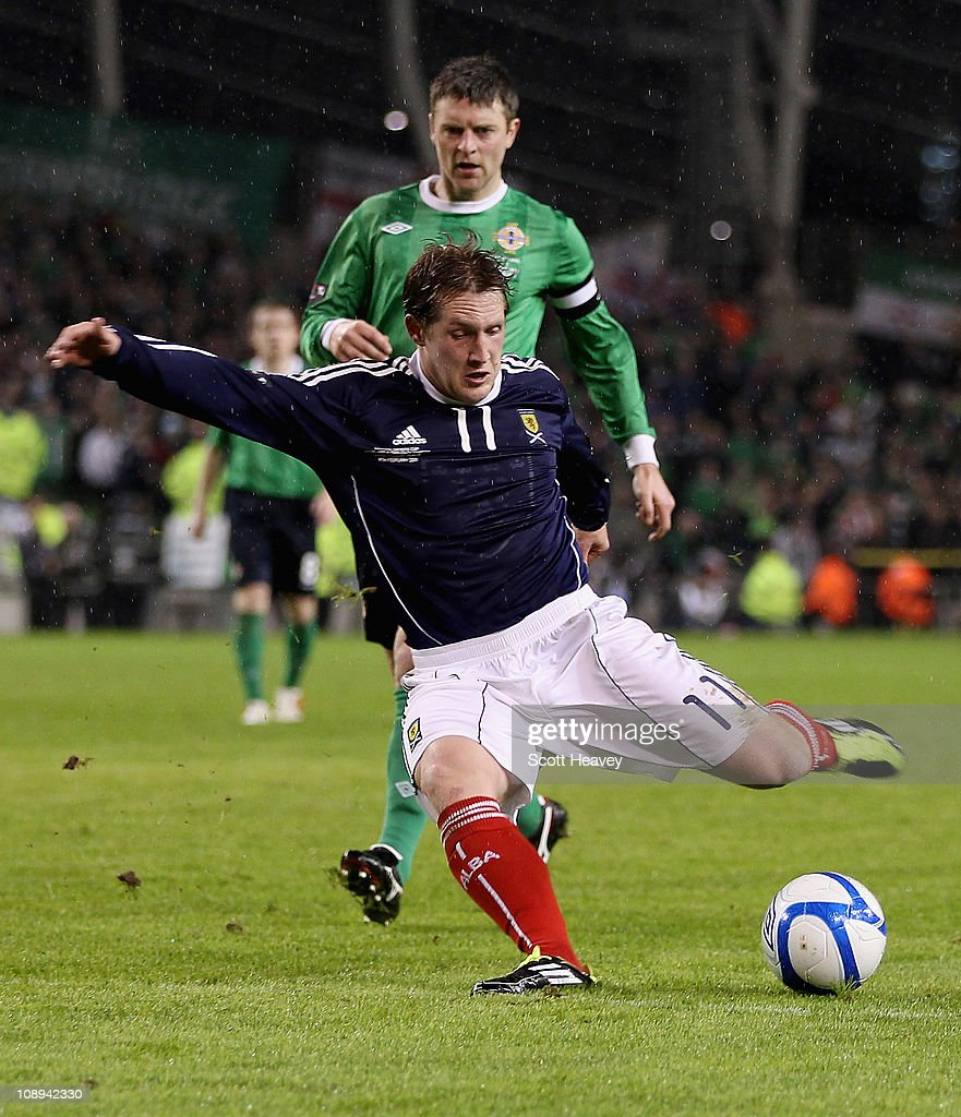 Kris Commons of Scotland scores their third goal during the Carling Nations Cup match between Northern Ireland and Scotland at the Aviva Stadium on February 9, 2011 in Dublin, Ireland.