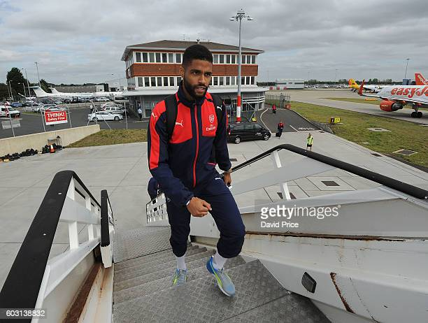 Kris Da Graca of Arsenal U19 team boards the plane at Luton Airport on September 12 2016 in Luton England