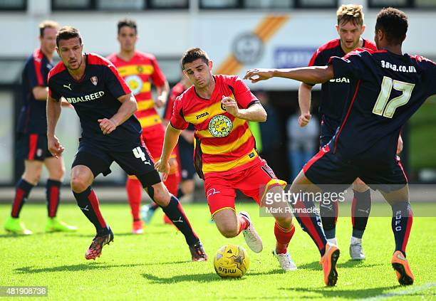 Kris Doolan of Patrick Thistle goes close in the Rotherham box during a pre season friendly match between Patrick Thistle FC and Rotherham United at...
