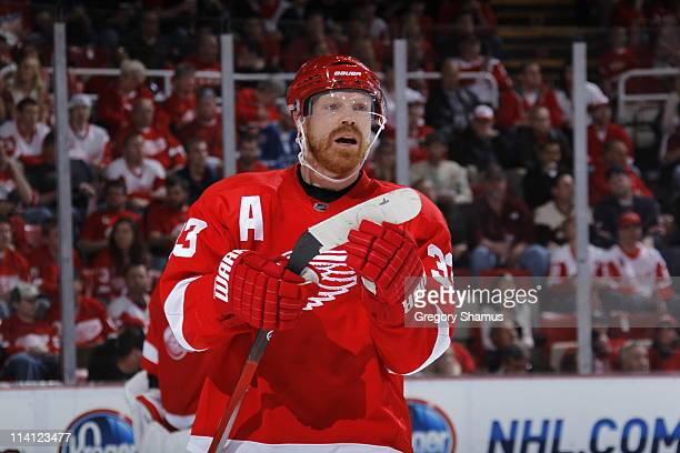Kris Draper of the Detroit Red Wings looks on the San Jose Sharks in Game Four of the Western Conference Semifinals during the 2011 NHL Stanley Cup...