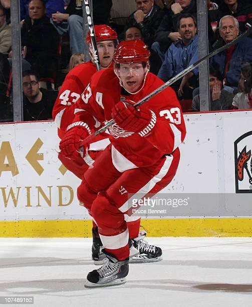 Kris Draper of the Detroit Red Wings skates against the Nashville Predators at the Joe Louis Arena on December 8, 2010 in Detroit, Michigan. The...