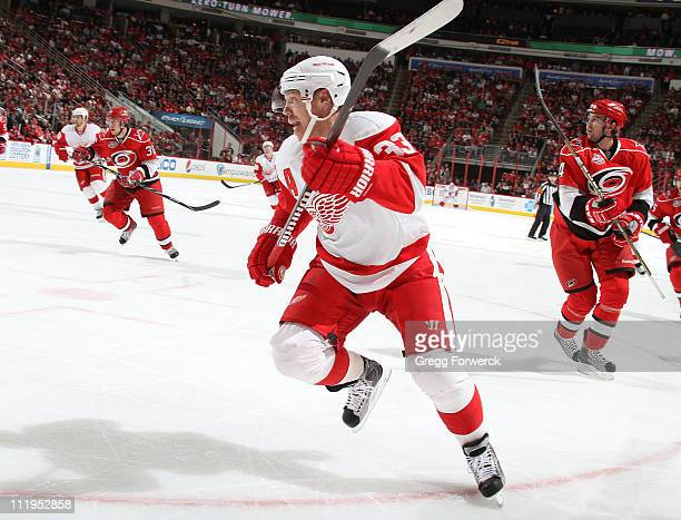 Kris Draper of the Detroit Red Wings skates for position on te ice during an NHL game against the Carolina Hurricanes on April 6, 2011 at RBC Center...