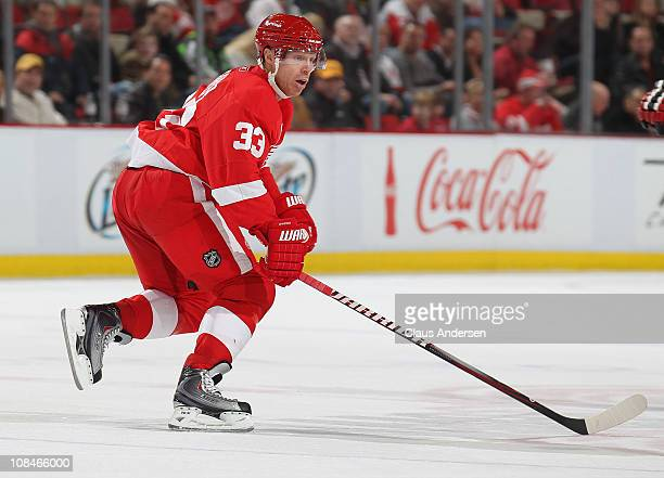 Kris Draper of the Detroit Red Wings skates in a game against the New Jersey Devils on January 26 2011 at the Joe Louis Arena in Detroit Michigan The...