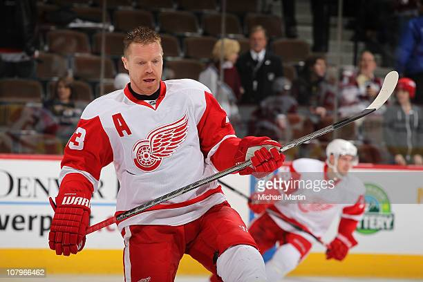 Kris Draper of the Detroit Red Wings skates prior to the game against the Colorado Avalanche at the Pepsi Center on January 10, 2011 in Denver,...