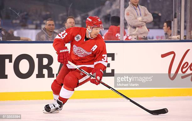 Kris Draper of the Red Wings Alumni team skates against the Colorado Avalanche Alumni team at the 2016 Coors Light Stadium Series at Coors Field on...