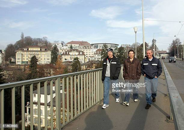 Kris Draper, Ray Whitney and Ray's father Floyd Whitney of the Primus Worldstars tour the city of Bern, Switzerland prior to their game against SC...