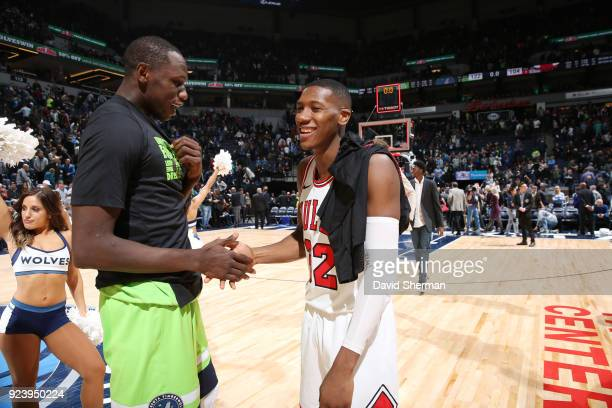Kris Dunn of the Chicago Bulls and Gorgui Dieng of the Minnesota Timberwolves shake hands after the game on February 24 2018 at Target Center in...