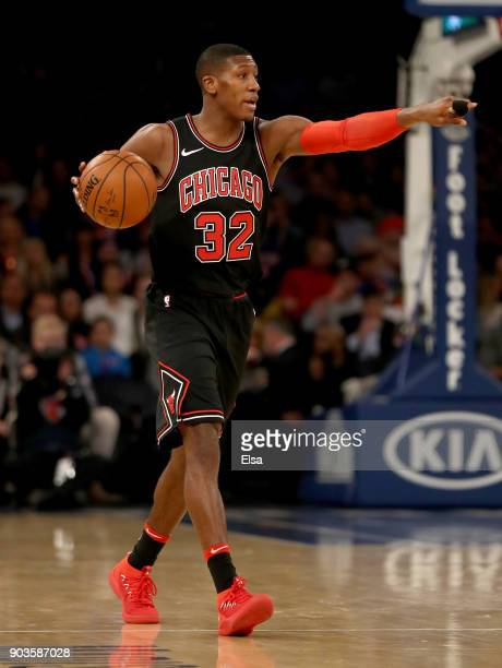 Kris Dunn of the Chicago Bulls calls out the play in the first half against the New York Knicks at Madison Square Garden on January 10 2018 in New...