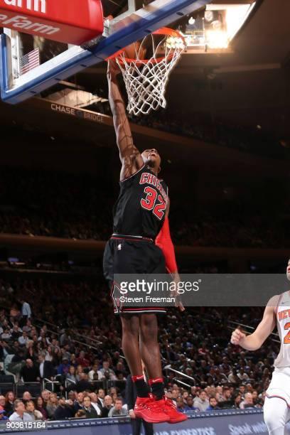 Kris Dunn of the Chicago Bulls dunks the ball against the New York Knicks on January 10 2018 at Madison Square Garden in New York City New York NOTE...