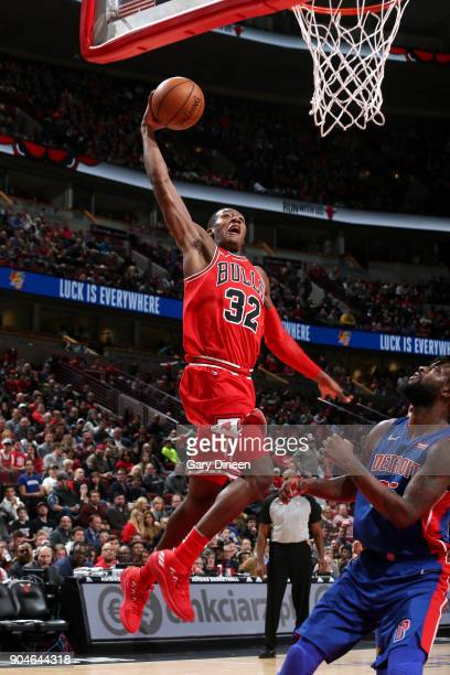 Kris Dunn of the Chicago Bulls goes up for a dunk against the Detroit Pistons on January 13 2018 at the United Center in Chicago Illinois NOTE TO...