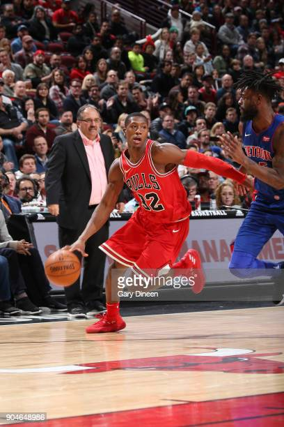 Kris Dunn of the Chicago Bulls handles the ball against the Detroit Pistons on January 13 2018 at the United Center in Chicago Illinois NOTE TO USER...