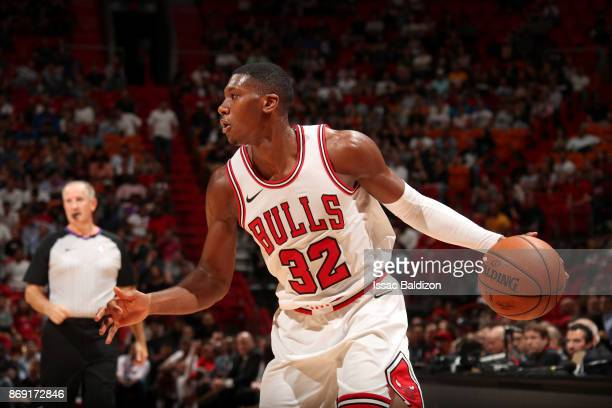 Kris Dunn of the Chicago Bulls handles the ball against the Miami Heat on November 1 2017 at American Airlines Arena in Miami Florida NOTE TO USER...