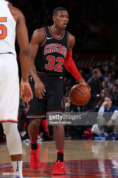 Kris Dunn of the Chicago Bulls handles the ball against the New York Knicks on January 10 2018 at Madison Square Garden in New York City New York...