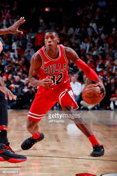 Kris Dunn of the Chicago Bulls handles the ball during the game against the Toronto Raptors on January 3 2018 at the United Center in Chicago...