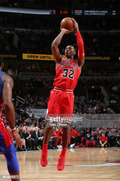 Kris Dunn of the Chicago Bulls shoots the ball against the Detroit Pistons on January 13 2018 at the United Center in Chicago Illinois NOTE TO USER...