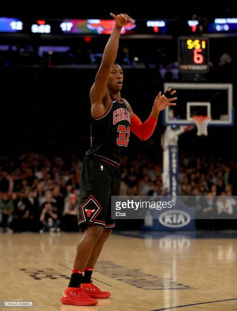 Kris Dunn of the Chicago Bulls watches his shot in the first half against the New York Knicks at Madison Square Garden on January 10 2018 in New York...