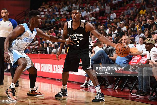 Kris Dunn of the Minnesota Timberwolves defends the ball against the Denver Nuggets during the 2016 Las Vegas Summer League game on July 8 2016 at...
