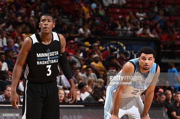 Kris Dunn of the Minnesota Timberwolves defends the basket against Jamal Murray of the Denver Nuggets during the 2016 Las Vegas Summer League game on...
